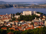 St Anne's Venetian Fortress Above City, Sibenik, Croatia Photographic Print by Wayne Walton