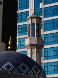 Minaret of Mosque and Office Building, Dubai, United Arab Emirates Photographic Print by Tony Wheeler