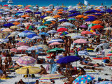 Many Umbrellas at Spiaggia Di Pelosa, Stintino, Sardinia, Italy Photographic Print by Dallas Stribley
