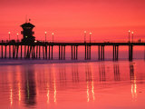 Rosy Sunset Over Huntington Beach Pier, Orange County, California, USA Photographic Print by Richard Cummins