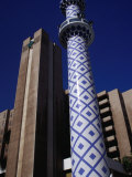 Blue and White Minaret Next to El Seef Mall, Dubai, United Arab Emirates Photographic Print by Tony Wheeler