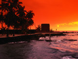 Orange Sunset Over the Sacred Bay, South Kona Coast, Puuhonua O Honaunau National Park, Hawaii, USA Photographic Print by Ann Cecil