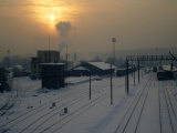 Snow-Covered Train Station at Dawn, Kaunas, Lithuania Photographic Print by Jonathan Smith