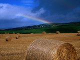 Straw Bales and Rainbow at Harvest Time, Ireland Photographic Print by Gareth McCormack