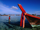 Bow of Traditional Longtail Boat with Cloth to Appease Sea Spirits, Thailand Photographic Print by Kraig Lieb