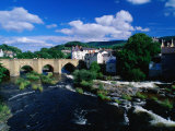 River Dee Flowing Under Bridge Through Town, Llangollen, United Kingdom Photographic Print by Anders Blomqvist