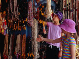 Girls Shopping for Glass Bead Necklaces at Indra Chowk, Kathmandu, Nepal Photographic Print by Richard I'Anson