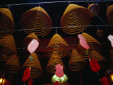 Incense Coils Hanging in Man Mo Temple, Hong Kong Photographic Print by Richard I'Anson