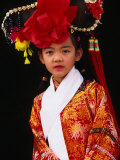 Portrait of Girl Dressed in Traditional Manchurian Costume, Chengde, China Photographic Print by Keren Su