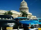 Classic American Taxi Cars Parked in Front of National Capital Building, Havana, Cuba Photographic Print by Martin Lladó