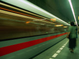 Moving Train in Metro, Blur, Prague, Czech Republic Photographic Print by Richard Nebesky