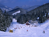 People Skiing on Jasna Run, Jasna Resort, Low Tatra Mountains, Slovakia Photographic Print by Richard Nebesky