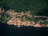 Aerial View of Village on Shores of Lake Lugano, Gandria, Ticino, Switzerland Photographic Print by Stephen Saks