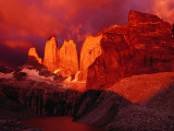 The Torres Del Paine (Towers of Paine) at Sunrise, Patagonia, Chile Photographic Print by Richard I'Anson