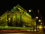 Tram Passing Neo-Renaissance National Theatre at Night, Blur, Prague, Czech Republic Photographic Print by Richard Nebesky