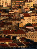 Sunset View of Houses Packed in Below Castelo De Sao Jorge, Castelo, Lisbon, Portugal Photographic Print by Anders Blomqvist