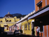 Colourful Buildings in Street, Antigua Guatemala, Sacatepequez, Guatemala Photographic Print by Tony Wheeler