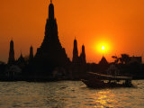 Sunset Over Temple of Dawn (Wat Arun) on River Mae Nam Chao Phraya, Bangkok, Thailand Photographic Print by John Elk III