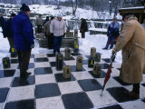 Men Playing Outdoor Chess in Winter, Helsinki, Finland Photographic Print by Wayne Walton