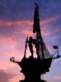 Peter the Great Monument Near Gorky Park Silhouetted at Sunset, Moscow, Russia Photographic Print by Jonathan Smith