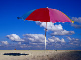 A Lone Beach Umbrella on Miami Beach, Miami, Florida, USA Photographic Print by Richard Cummins
