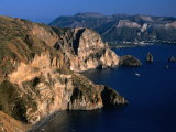 Coastline from Village Quattroochi and Island Vulcano in Background,Sicily, Italy Photographic Print by Dallas Stribley