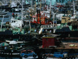 Fishing Boats Crowding Waterfront at Port, Busan, Gyeongsangnam-Do, South Korea Photographic Print by Richard I'Anson