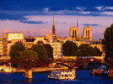 Cruise Boat on Seine River, Heading Under Pont Neuf Bridge, Paris, France Photographic Print by Richard I'Anson