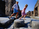 Mother and Daughter Crossing Ancient Street, Pompeii, Italy Photographic Print by Philip & Karen Smith