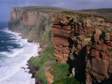 Old Red Sandstone Cliffs Toward St. Johns Head, Hoy, Orkney Islands, Scotland Photographic Print by Grant Dixon
