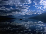 Early Morning Boating in Reflected Sea of Clouds, Lake Mcdonald, Glacier National Park, Montana Photographic Print by Gareth McCormack