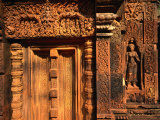 Detail of False Door and Wall at Banteay Srei Temple, Angkor, Cambodia Photographic Print by Anders Blomqvist