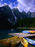 Canoeing on Moraine Lake, Banff National Park, Alberta, Canada Photographic Print by Lawrence Worcester