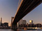 City Skyline Behind Brooklyn Bridge on Lower Manhattan, New York City, New York, USA Photographic Print by Angus Oborn