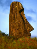 Moai Statue Lying Submerged in Soil, Rano Raraku, Easter Island, Valparaiso, Chile Photographic Print by Paul Kennedy