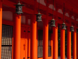 Lanterns and Red Pillars on Replica of Imperial Palace at Heian-Jingu Shrine, Kyoto, Japan Photographic Print by Martin Moos