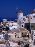 Traditional Village Houses, Stairs and Windmill, Oia, Santorini Island, Greece Photographic Print by Diana Mayfield