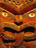 Historic Maori Carving in Otago Museum, Dunedin, Otago, New Zealand Fotografisk trykk av David Wall