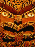 Historic Maori Carving in Otago Museum, Dunedin, Otago, New Zealand Photographic Print by David Wall