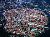 Aerial View of City Beside Danube River, Ulm, Germany Photographic Print by Manfred Gottschalk