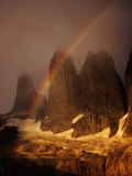 Rainbow Over Torres Del Paine (Towers of Paine), Torres Del Paine National Park, Chile Photographic Print by Woods Wheatcroft