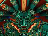 Ceiling Detail at Temple in Village, Seoul, South Korea Photographic Print by Eric Wheater