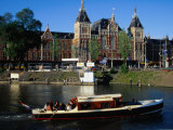 Boat in Front of Centraal Station, Amsterdam, Netherlands Photographic Print by Richard Nebesky