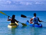 Man and Woman Kayaking on Fernandez Bay, Cat Island, Bahamas Photographic Print by Greg Johnston