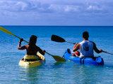 Man and Woman Kayaking on Fernandez Bay, Cat Island, Bahamas Photographic Print by Greg Johnston