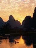Fisherman on Li River at Sunset, Yangshuo, China Photographic Print by Keren Su