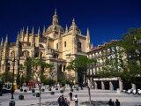 Segovia Cathedral on Plaza Major, Segovia, Castilla-Y Leon, Spain Photographic Print by Stephen Saks