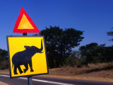 Warning Sign On Road Victoria Falls Park, Matabeleland North, Zimbabwe Lmina fotogrfica por John Borthwick