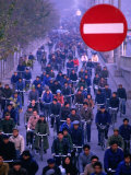 People on Bicycles at Rush Hour, Beijing, China Photographic Print by Nicholas Pavloff