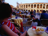 Traveller Relaxing at Outdoor Cafe on Piazza Bra, Verona, Italy Photographic Print by Glenn Beanland
